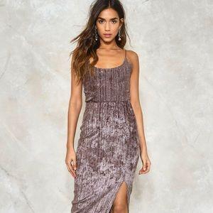 Nasty Gal- Hella Good Velvet Dress in Taupe